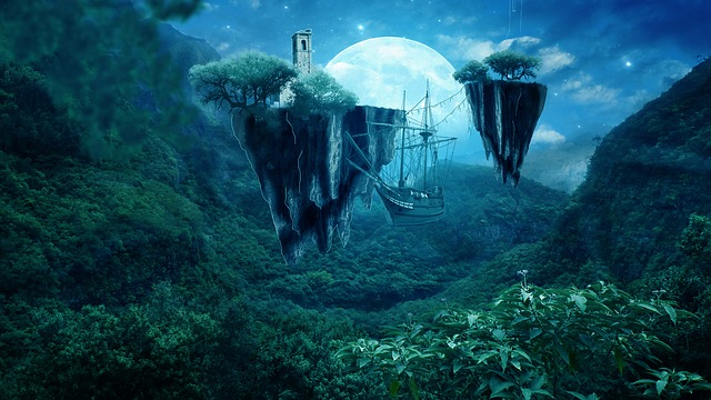 Fantasy Image - sky and ship with floating islands