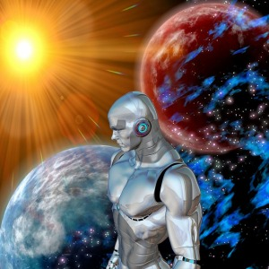 Robot in outer space staring at the sun and planets.