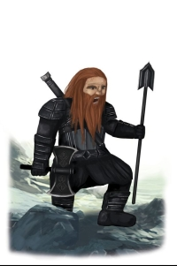 Dwarf male with spear and axe. Art concept from The Fellowship Of The King book by Lynne Collier.