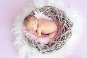 Sleeping Baby in feathers nest