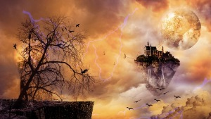 Fantasy world with floating island, tree and house in the sky